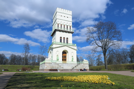 Pushkin, RUSSIA - MAY 04, 2017: The white tower in Tsarskoe Selo spring Sunny day