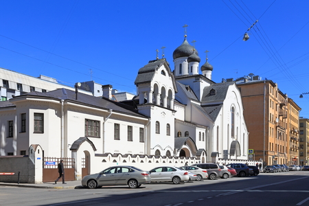 Saint Petersburg, RUSSIA - MAY 05, 2017: Old believers Church of the Holy virgin spring day