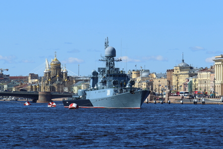 Saint Petersburg, RUSSIA - MAY 03, 2017: Small anti-submarine ship of the project 1331М Urengoy on the Neva river