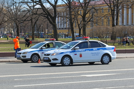 Saint Petersburg, RUSSIA - MAY 03, 2017: the Traffic police patrol maintain order in the city