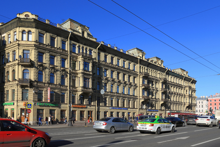 Saint Petersburg, RUSSIA - MAY 07, 2017: architectural Monument of the 19th century house of the merchant Sharova - the apartment house of P. I. Likhachev. Literary club of St. Petersburg, Nevsky prospect, 66 Editorial