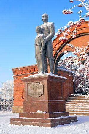 Novosibirsk, RUSSIA - DECEMBER 19, 2017: the Monument to Emperor Nicholas Romanov II and his son Tsarevich Alexei