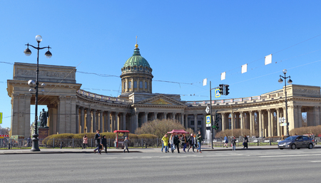 Saint Petersburg, RUSSIA - MAY 03, 2017: the Kazan Cathedral in Sunny spring day Editorial