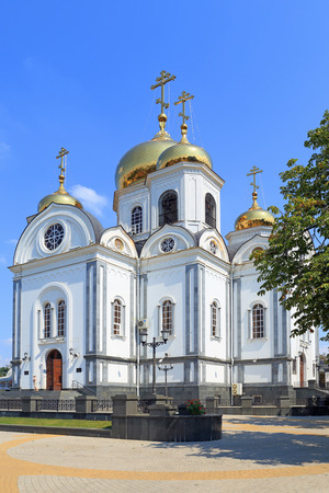 Krasnodar, RUSSIA - AUGUST 18, 2015: Military Cathedral of blessed St. Prince Alexander Nevsky on a summer day