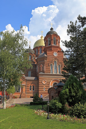 Krasnodar, RUSSIA-AUGUST 18, 2015: St. Catherines Cathedral on a summer day Stock Photo