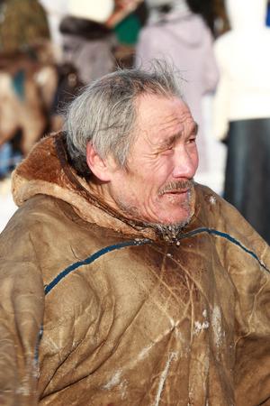 NADYM, RUSSIA - MARCH 07, 2010: elderly Nenets reindeer herder. Nenets - aboriginals of the Russian North
