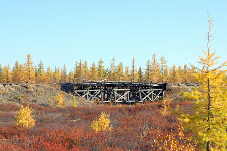 The old bridge was built by prisoners of Stalin's prison camps Stalin 501-th construction of the GULAG.  Railway
