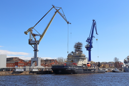 Saint Petersburg, RUSSIA-MAY 03, 2017: construction of the diesel-electric icebreaker of the Northern Navy Ilya Muromets Editoriali