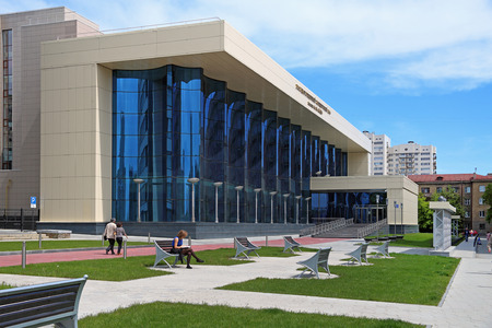 Novosibirsk, RUSSIA-JUNE 13, 2014: Arnold Katz state concert hall on a summer day