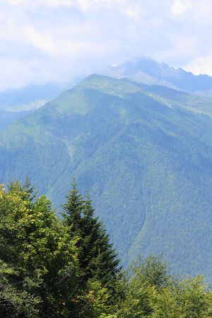 View of the Aibga ridge peaks in the vicinity of Krasnaya Polyana resort in the Krasnodar region of Russia Stock fotó