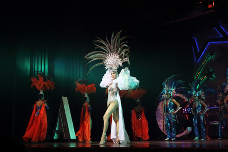 PATTAYA, THAILAND-MARCH 27, 2012: Actors in drag on the show of the Alcazar theatre