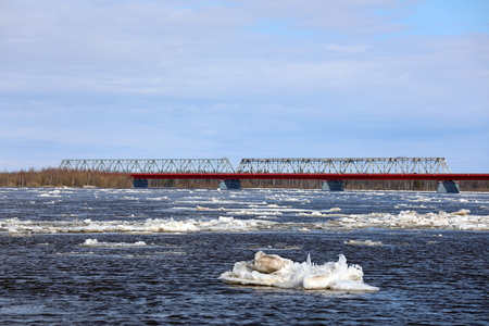 Spring ice drift on the Nadym river in the North of Western Siberia