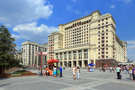 Moscow, RUSSIA - AUGUST 20, 2013: Hotel Moscow is a summer day at the Okhotny Ryad