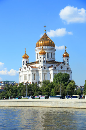 Moscow, RUSSIA - AUGUST 20, 2013: Orthodox Church of Christ the Savior on a summer day in the Russian capital