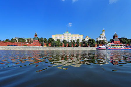 Moscow, RUSSIA - AUGUST 20, 2013: Morning view from the river to the Grand Kremlin Palace
