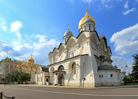 Moscow, RUSSIA — AUGUST 20, 2013: Archangel Cathedral of the Moscow Kremlin on a warm summer day