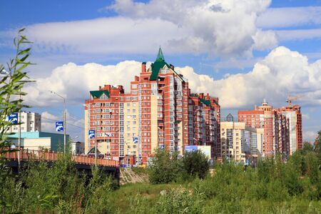 SURGUT, RUSSIA-JULY 07, 2011: Modern residential complex on a Sunny summer day