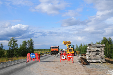 NADYM, RUSSIA-JULY 06, 2011: Repair of the roadbed of the Federal highway Surgut-Salekhard in the Yamalo-Nenets Autonomous district Sajtókép