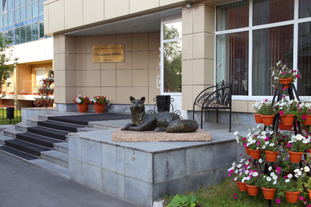 SURGUT, RUSSIA-JULY 27, 2013: sculpture of a Fox at the entrance to the Ob hotel