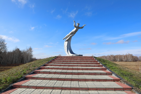BAYEVO, RUSSIA-OCTOBER 22, 2019: a monument To the first woman cosmonaut Valentina Tereshkova at the landing site in 1963 of her spacecraft near the Altai village of Bayevo in Siberia Editorial