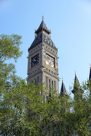 SURGUT, RUSSIA-AUGUST 25, 2009: The building of the school of foreign languages stylized as the clock tower of the Palace of Westminster Editorial