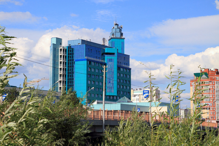 SURGUT, RUSSIA-JULY 07, 2011: View of the building complex of Gazprom transgaz Surgut, Khanty-Mansi Autonomous Okrug-Yugra Editorial