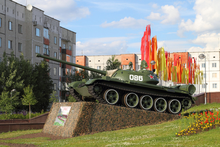 SURGUT, RUSSIA-JULY 25, 2011: Soviet t-55 tank at the memorial of military Glory in the city square