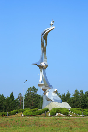 SURGUT, RUSSIA-JULY 27, 2013: flying bird Monument on a Sunny summer day Editorial