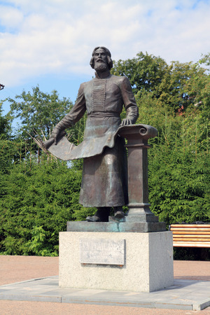 TOBOLSK, RUSSIA-JULY 08, 2011: Monument to Russian cartographer and chronicler of the 17th century Semyon Remezov on Sofia square 報道画像