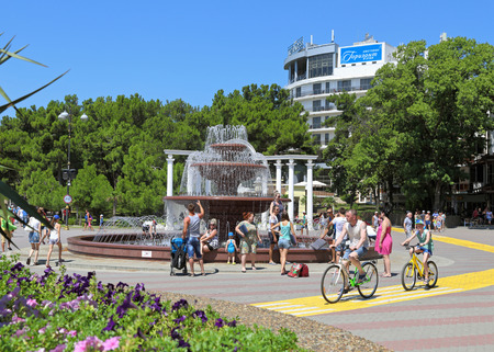 GELENDZHIK, RUSSIA-AUGUST 08, 2015: Fountain on the resort embankment on The black sea coast