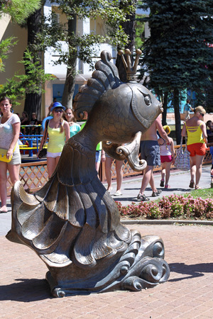 GELENDZHIK, RUSSIA-AUGUST 08, 2015: sculpture fairy-tale character goldfish on the resort embankment