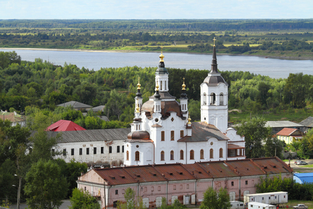 TOBOLSK, RUSSIA-AUGUST 30, 2013: View of the Orthodox Church of Zacharias and Elizabeth (resurrection Church) and the Irtysh river in Siberia