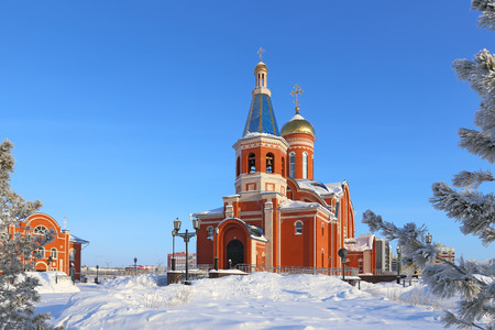 Novy Urengoi, RUSSIA-FEBRUARY 10, 2016: Church in honor of the Epiphany on a winter frosty day in the North of Western Siberia 報道画像