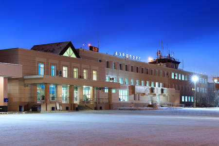 Novy Urengoi, RUSSIA-JULY 18, 2013: city airport named Yagelnoe in winter evening 報道画像