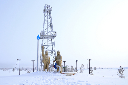 Novy Urengoi, RUSSIA-MARCH 14, 2012: monument Well R-2 to the heroes of the discoverers of the Urengoy gas condensate field