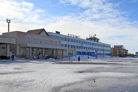 Novy Urengoi, RUSSIA-APRIL 14, 2012: the Citys airport called reindeer moss in early spring