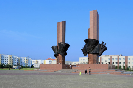 Novy Urengoi, RUSSIA-JULY 20, 2012: memorial To the memory of fallen soldiers of different generations on Studentskaya square