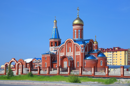 Novy Urengoi, RUSSIA-JULY 18, 2013: Church of the Epiphany on a summer day in Northern Western Siberia 報道画像