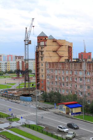 Novy Urengoi, RUSSIA-AUGUST 17, 2011: construction of a residential building in Yamalo-Nenets Autonomous Okrug