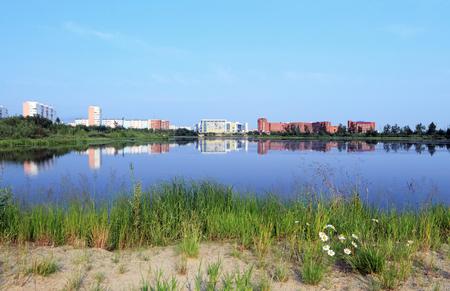 Novy Urengoy, RUSSIA-JULY 20, 2012: Cityscape with lake on a summer day in Yamalo-Nenets Autonomous Okrug