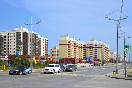 Novy Urengoi, RUSSIA-JULY 08, 2012: view of Sibirskaya Street on a summer day in Yamalo-Nenets Autonomous Okrug