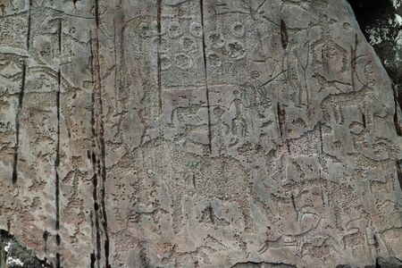 Ancient rock drawings in Kalbak-Tash in the Altai Mountains of Russia