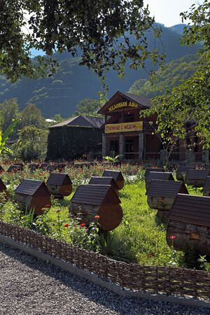 Gagra district, ABKHAZIA-AUGUST 08, 2013: Apiary among the picturesque mountain slopes on a Sunny day