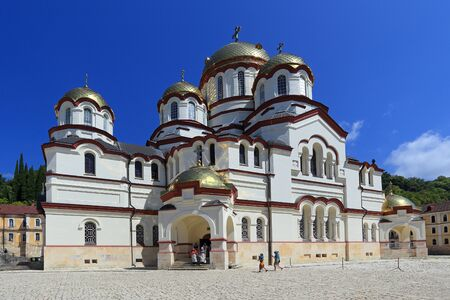 New Athos, ABKHAZIA-AUGUST 08, 2013: Main temple of the new Athos monastery Panteleimon Cathedral on a Sunny summer day