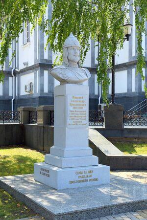 Krasnodar, Russia-AUGUST 16, 2015: Bust of Alexander Nevsky near the Military Cathedral of the blessed Saint Prince Alexander Nevsky