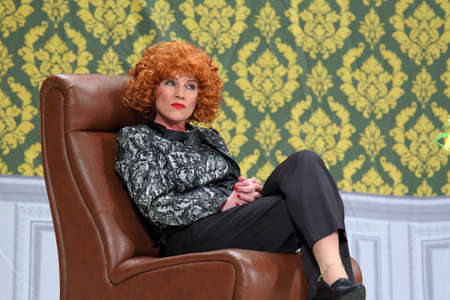 Nadym, RUSSIA-APRIL 09, 2016: Popular theater and film actress Galina Danilova as Matilda in the play with the name Masculine gender, singular Redactioneel