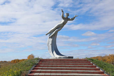 Altai region, RUSSIA-OCTOBER 02, 2020: Monument to the world's first woman cosmonaut Valentina Tereshkova at the site of her landing after flying into space