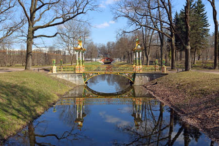 Pushkin, RUSSIA - MAY 04, 2017: Small Chinese bridge in the New garden of Alexander Park in Tsarskoye Selo in the vicinity of Saint Petersburg