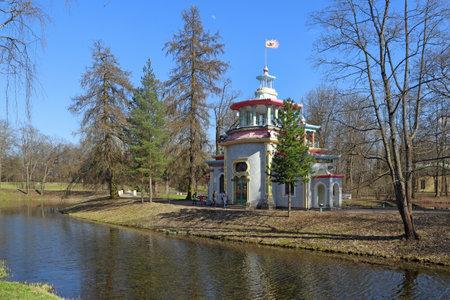 Pushkin, RUSSIA - MAY 04, 2017: Exotic pavilion Creaky gazebo designed by Felten in Tsarskoye Selo in the vicinity of St. Petersburg Editorial