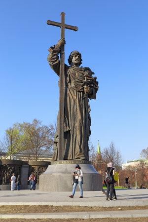 Moscow, RUSSIA - APRIL 30, 2017: Monument to the baptist of Russia Grand Duke of Kiev Vladimir Svyatoslav on Borovitskaya Square near the Kremlin